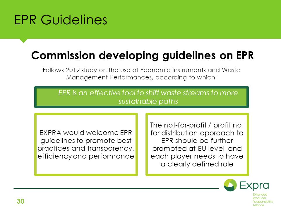 30 EPR Guidelines Follows 2012 study on the use of Economic Instruments and Waste Management Performances, according to which: EPR is an effective tool to shift waste streams to more sustainable paths Commission developing guidelines on EPR EXPRA would welcome EPR guidelines to promote best practices and transparency, efficiency and performance The not-for-profit / profit not for distribution approach to EPR should be further promoted at EU level and each player needs to have a clearly defined role