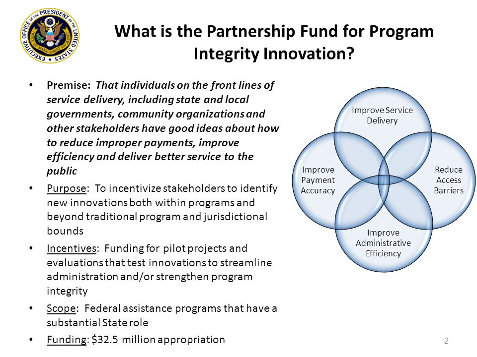 Improve Service Delivery Reduce Access Barriers Improve Administrative Efficiency Improve Payment Accuracy What is the Partnership Fund for Program Integrity Innovation.