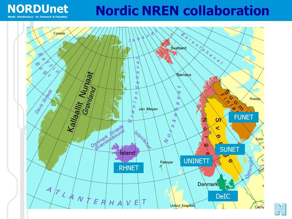 NORDUnet Nordic infrastructure for Research & Education Nordic NREN collaboration RHNET UNINETT SUNET FUNET DeIC