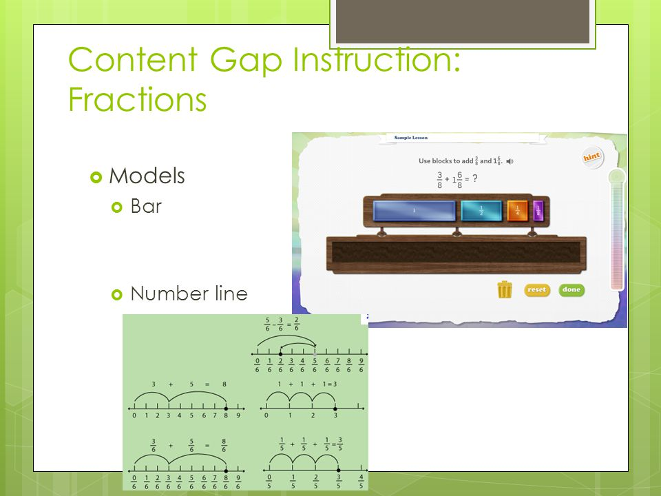 Content Gap Instruction: Fractions  Models  Bar  Number line