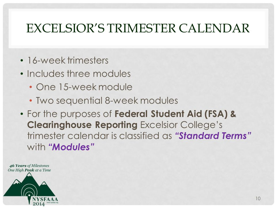 EXCELSIOR'S TRIMESTER CALENDAR 16-week trimesters Includes three modules One 15-week module Two sequential 8-week modules For the purposes of Federal Student Aid (FSA) & Clearinghouse Reporting Excelsior College's trimester calendar is classified as Standard Terms with Modules 10
