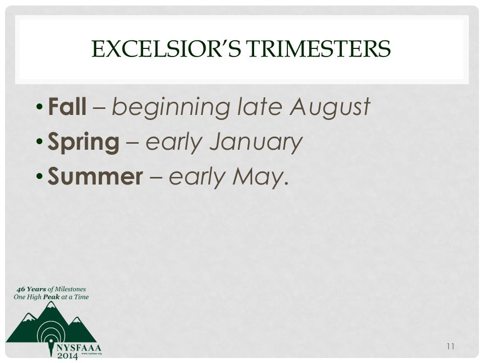 EXCELSIOR'S TRIMESTERS Fall – beginning late August Spring – early January Summer – early May. 11