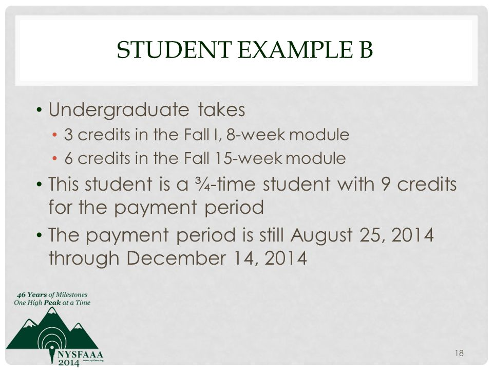 STUDENT EXAMPLE B Undergraduate takes 3 credits in the Fall I, 8-week module 6 credits in the Fall 15-week module This student is a ¾-time student with 9 credits for the payment period The payment period is still August 25, 2014 through December 14, 2014 18