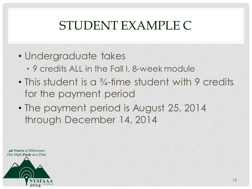 STUDENT EXAMPLE C Undergraduate takes 9 credits ALL in the Fall I, 8-week module This student is a ¾-time student with 9 credits for the payment period The payment period is August 25, 2014 through December 14, 2014 19