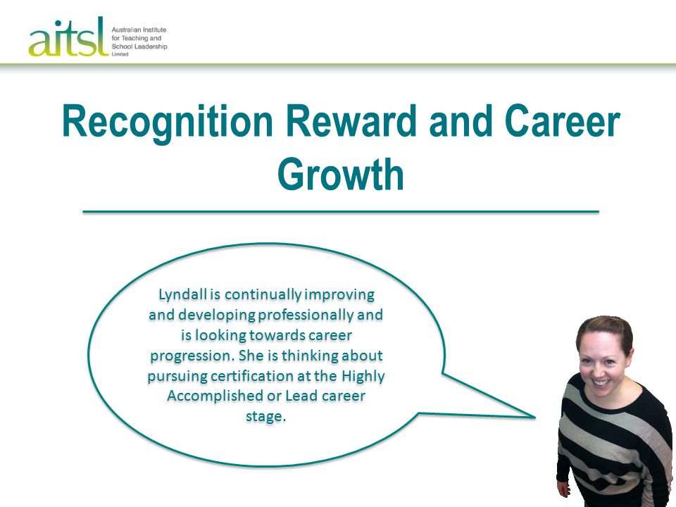 Recognition Reward and Career Growth Lyndall is continually improving and developing professionally and is looking towards career progression.