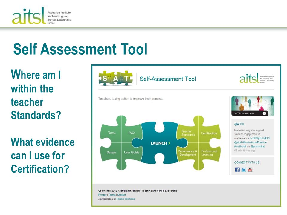 Self Assessment Tool W here am I within the teacher Standards.