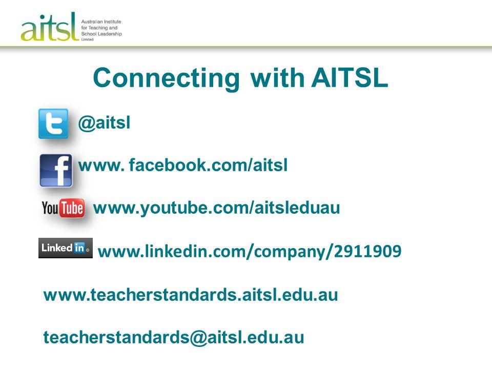 www. facebook.com/aitsl www.youtube.com/aitsleduau www.linkedin.com/company/2911909 www.teacherstandards.aitsl.edu.au teacherstandards@aitsl.edu.au Co