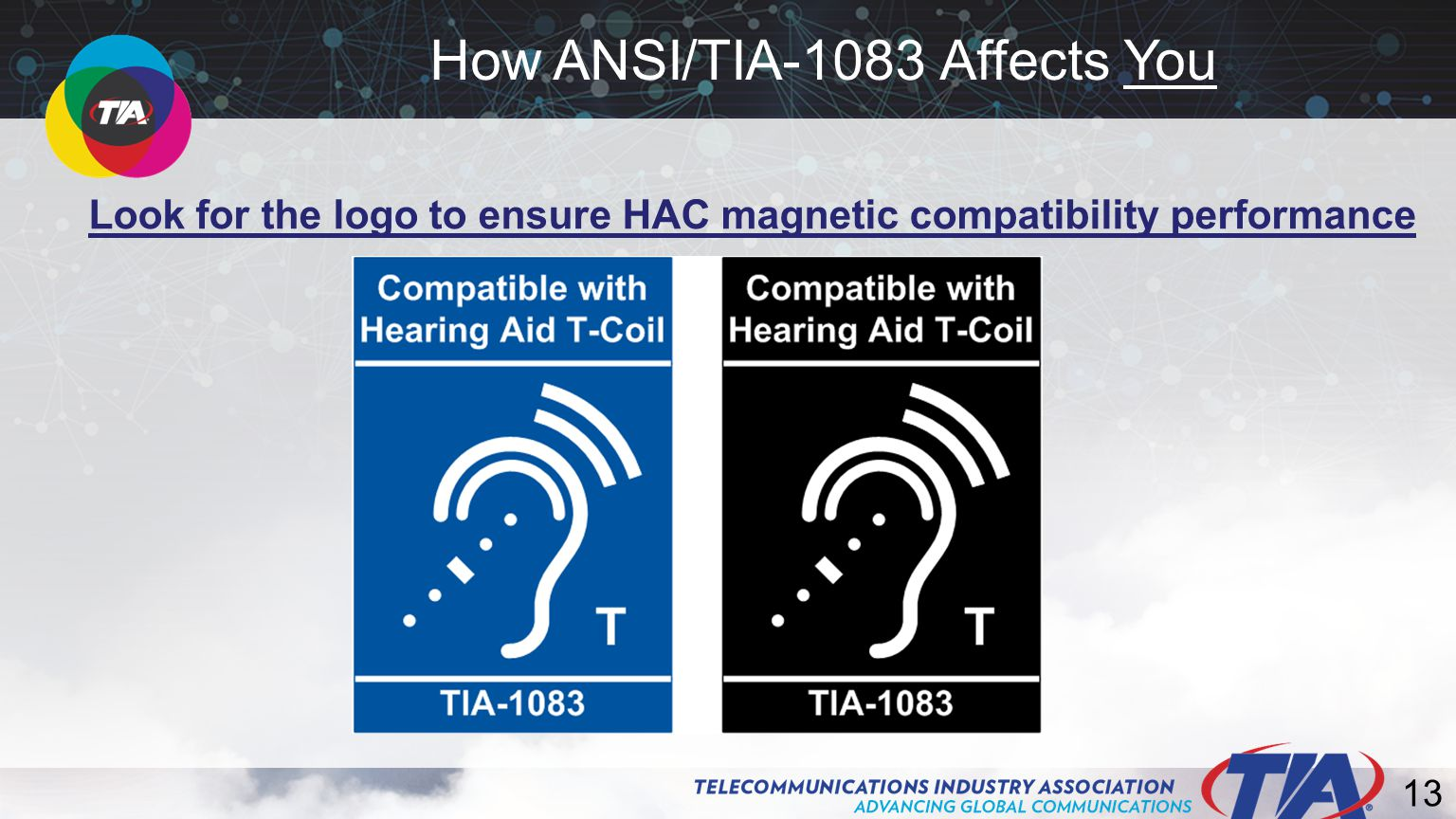 13 Look for the logo to ensure HAC magnetic compatibility performance How ANSI/TIA-1083 Affects You