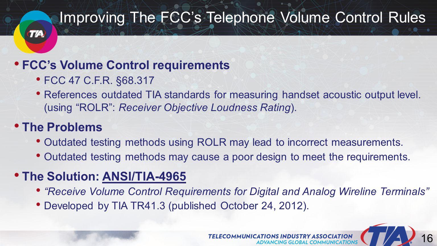 16 FCC's Volume Control requirements FCC 47 C.F.R.