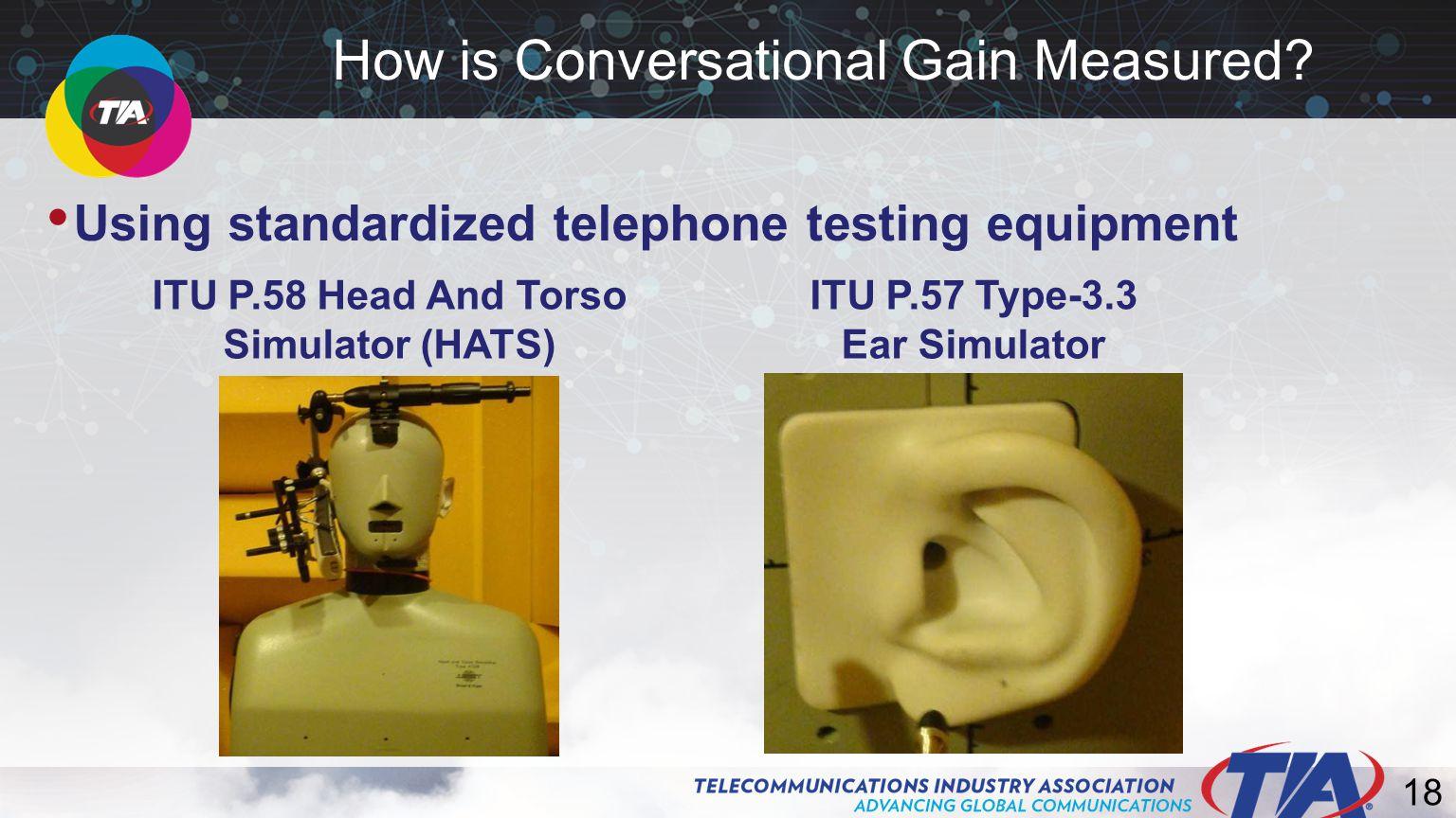 18 Using standardized telephone testing equipment How is Conversational Gain Measured.
