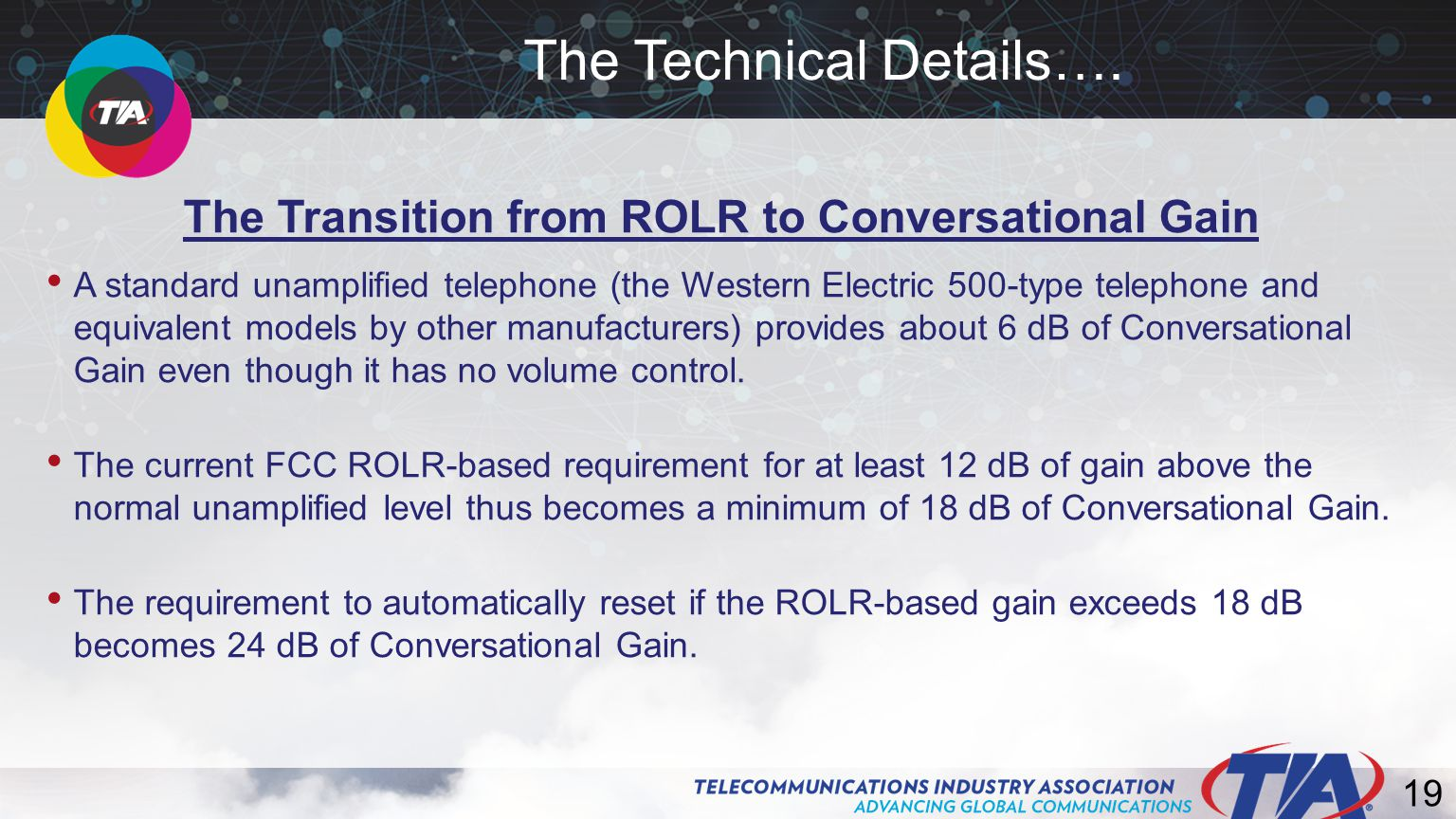 19 The Transition from ROLR to Conversational Gain A standard unamplified telephone (the Western Electric 500-type telephone and equivalent models by other manufacturers) provides about 6 dB of Conversational Gain even though it has no volume control.