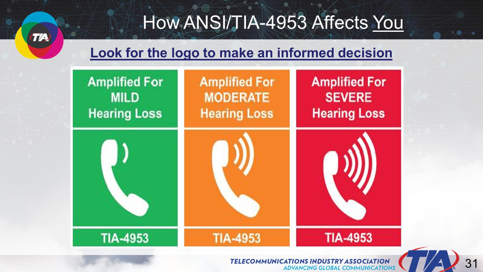 31 How ANSI/TIA-4953 Affects You Look for the logo to make an informed decision