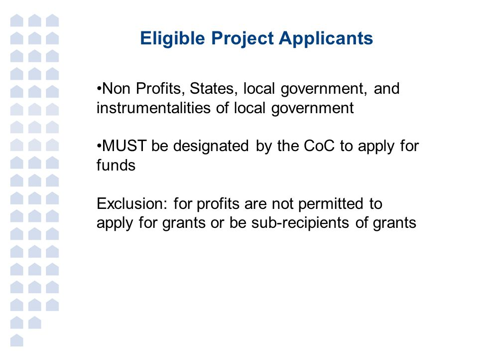 Eligible Project Applicants Non Profits, States, local government, and instrumentalities of local government MUST be designated by the CoC to apply for funds Exclusion: for profits are not permitted to apply for grants or be sub-recipients of grants