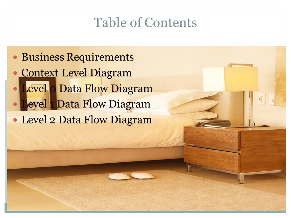 Table of Contents Business Requirements Context Level Diagram Level 0 Data Flow Diagram Level 1 Data Flow Diagram Level 2 Data Flow Diagram