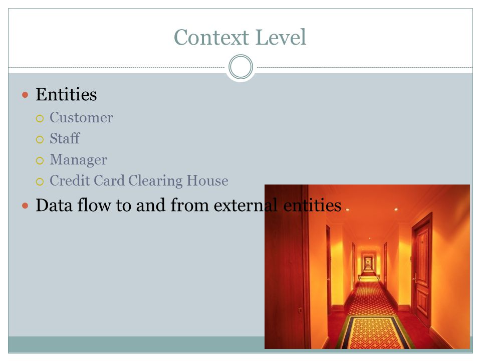Context Level Entities  Customer  Staff  Manager  Credit Card Clearing House Data flow to and from external entities