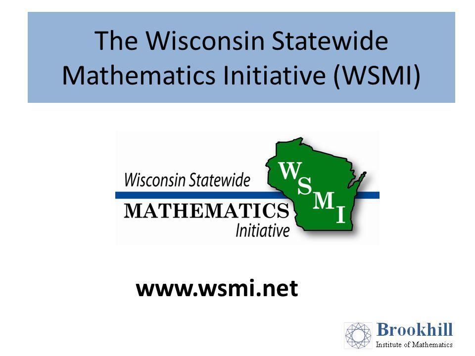 The Wisconsin Statewide Mathematics Initiative (WSMI) www.wsmi.net