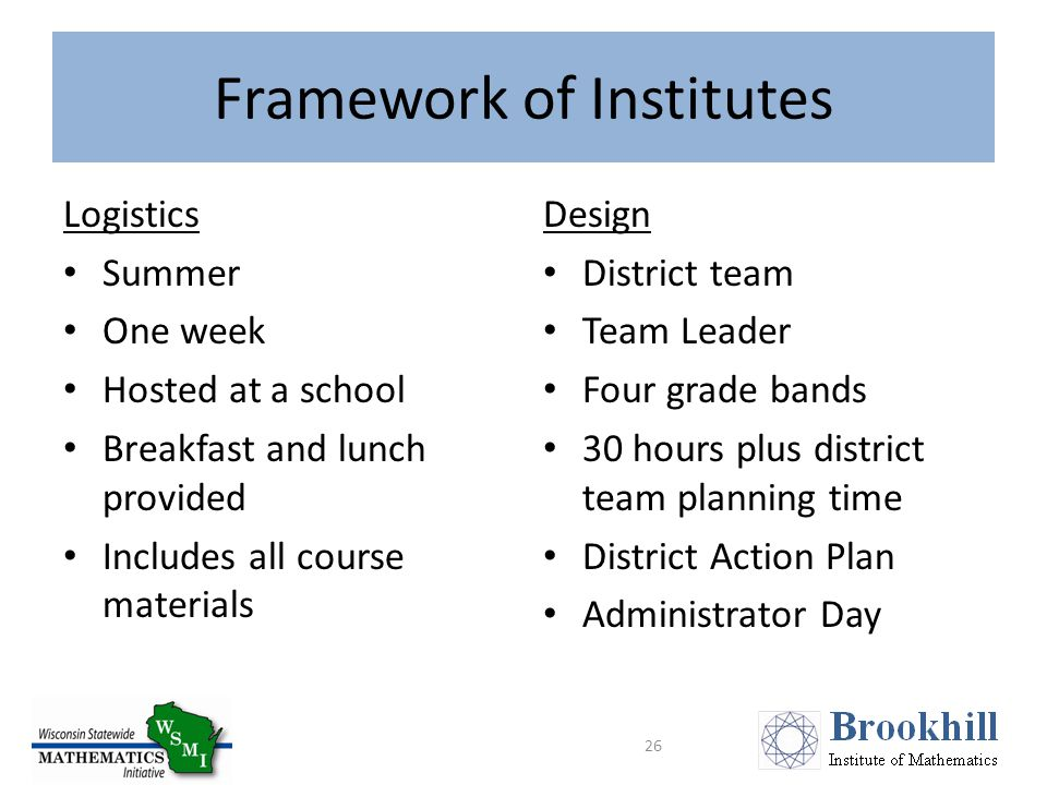 Framework of Institutes Logistics Summer One week Hosted at a school Breakfast and lunch provided Includes all course materials Design District team Team Leader Four grade bands 30 hours plus district team planning time District Action Plan Administrator Day 26