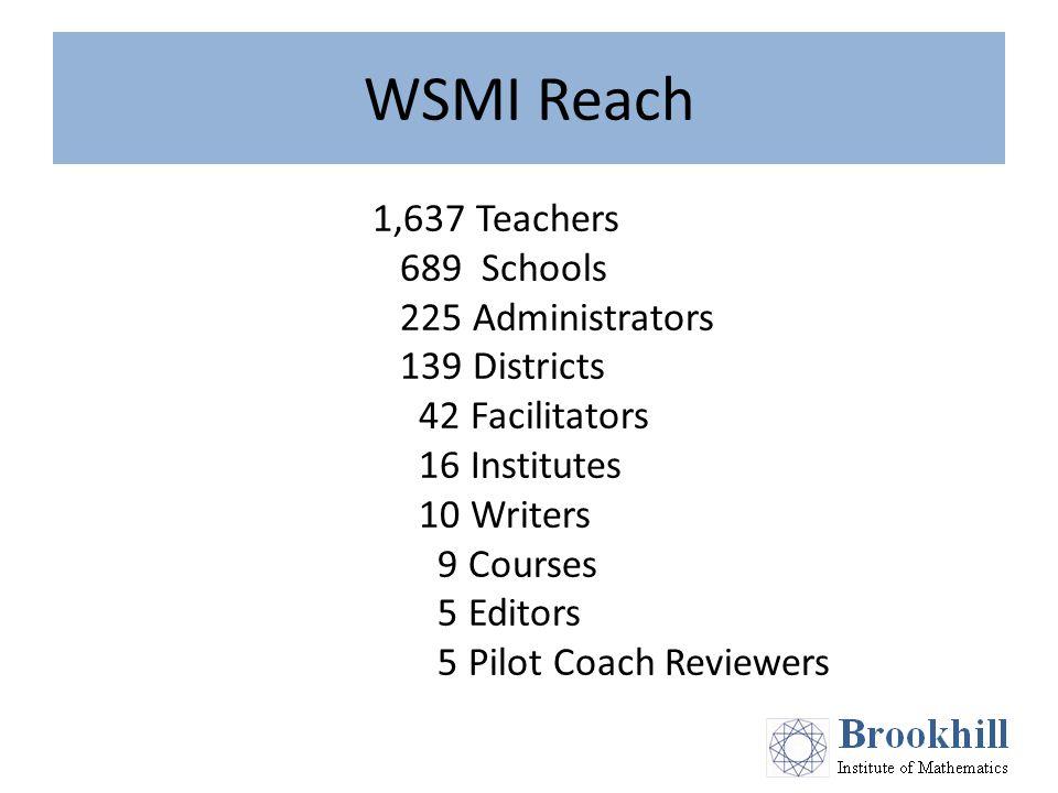WSMI Reach 1,637 Teachers 689 Schools 225 Administrators 139 Districts 42 Facilitators 16 Institutes 10 Writers 9 Courses 5 Editors 5 Pilot Coach Reviewers