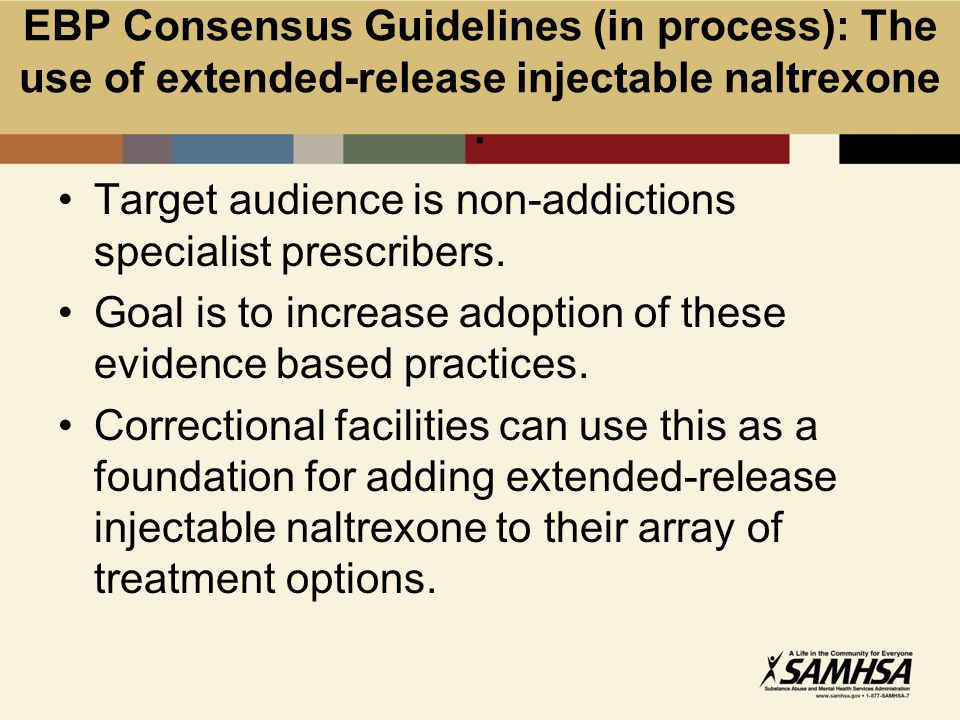 EBP Consensus Guidelines (in process): The use of extended-release injectable naltrexone.