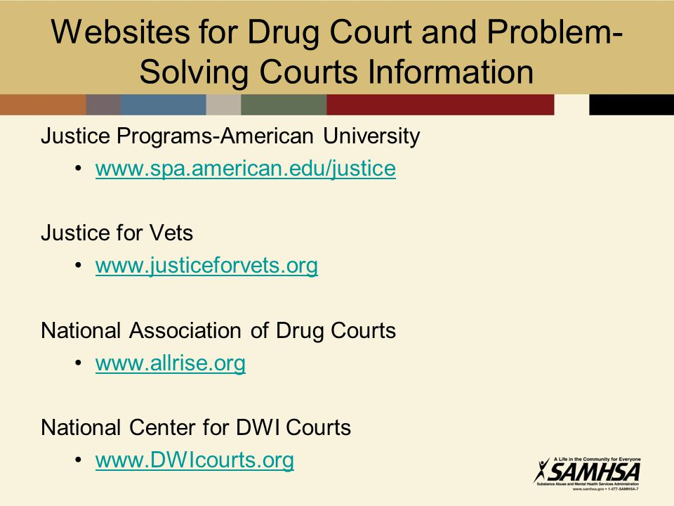 Websites for Drug Court and Problem- Solving Courts Information Justice Programs-American University www.spa.american.edu/justice Justice for Vets www.justiceforvets.org National Association of Drug Courts www.allrise.org National Center for DWI Courts www.DWIcourts.org