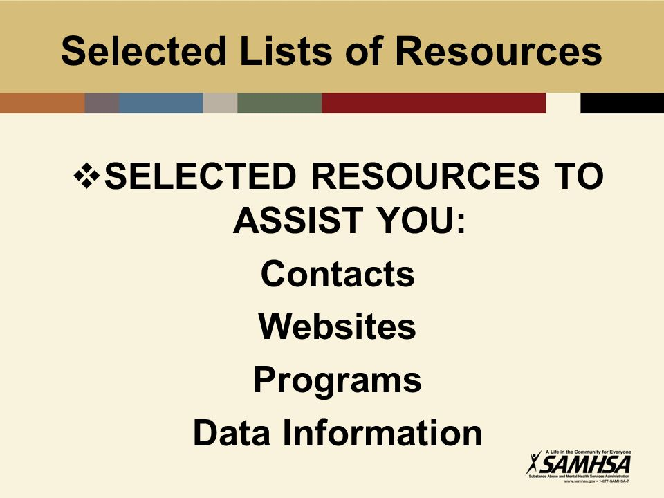 Selected Lists of Resources  SELECTED RESOURCES TO ASSIST YOU: Contacts Websites Programs Data Information
