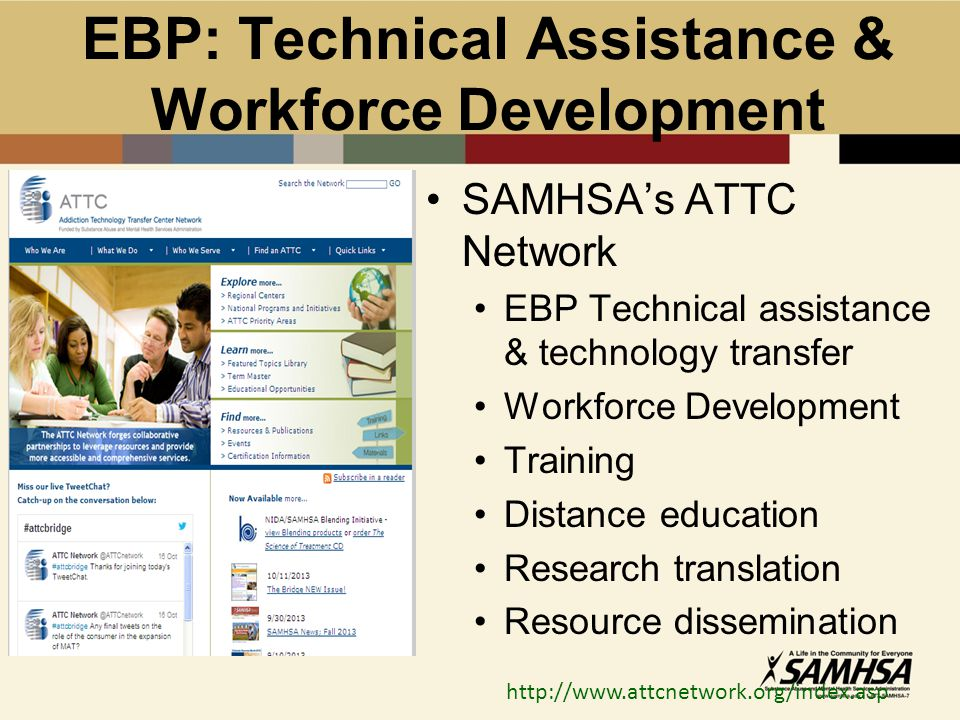 EBP: Technical Assistance & Workforce Development SAMHSA's ATTC Network EBP Technical assistance & technology transfer Workforce Development Training Distance education Research translation Resource dissemination http://www.attcnetwork.org/index.asp