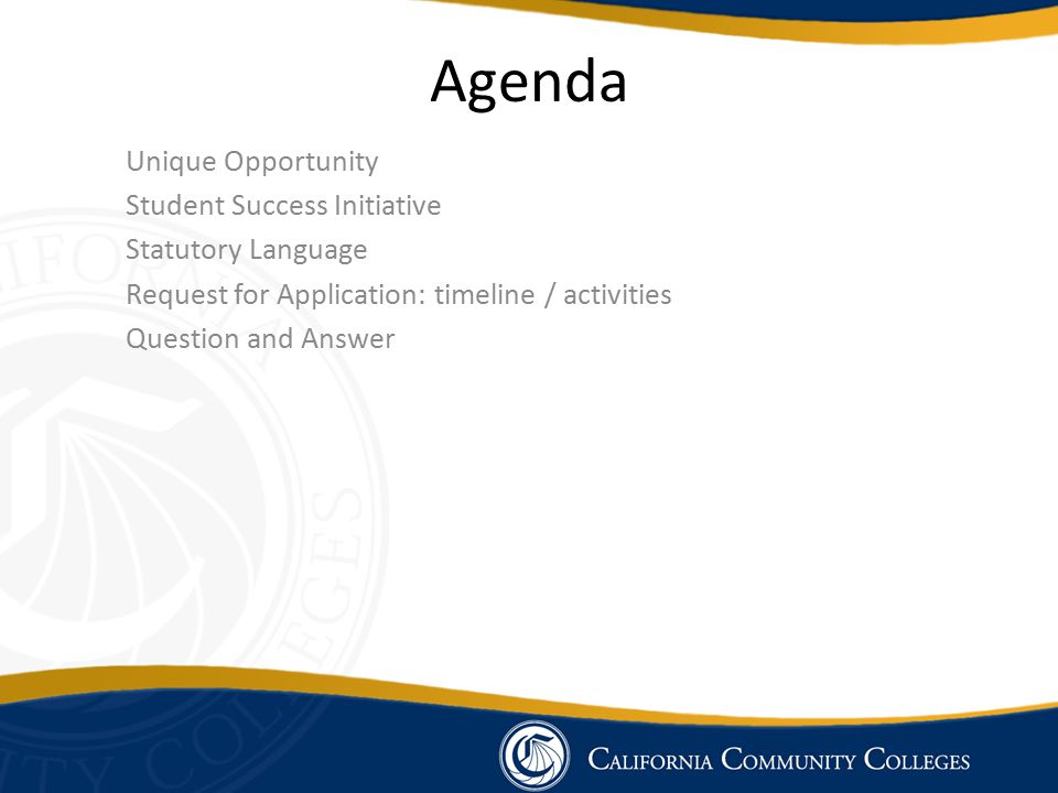 Agenda Unique Opportunity Student Success Initiative Statutory Language Request for Application: timeline / activities Question and Answer