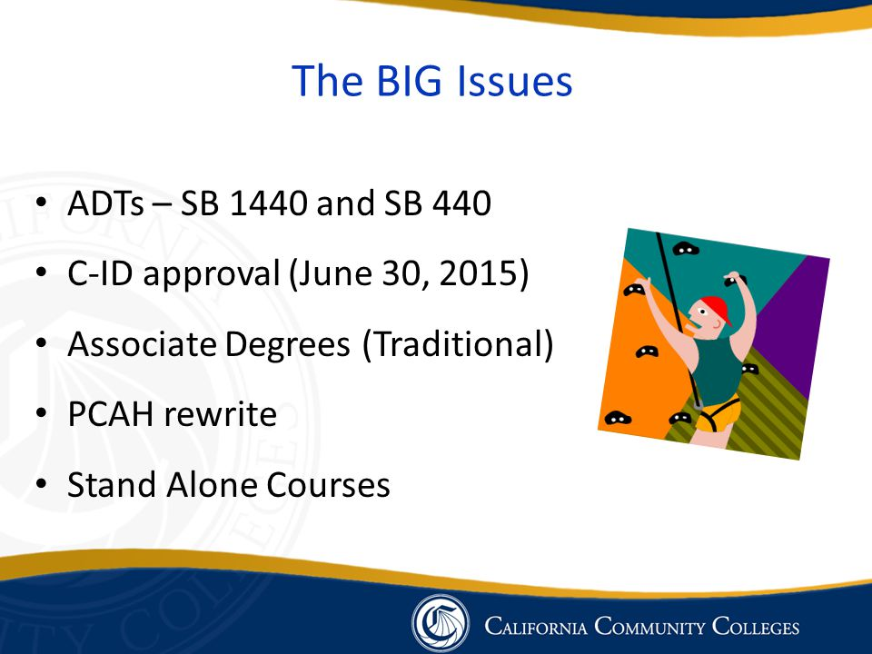 The BIG Issues ADTs – SB 1440 and SB 440 C-ID approval (June 30, 2015) Associate Degrees (Traditional) PCAH rewrite Stand Alone Courses