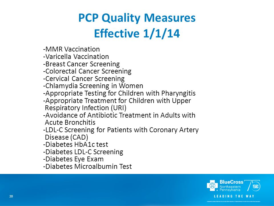 20 PCP Quality Measures Effective 1/1/14 -MMR Vaccination -Varicella Vaccination -Breast Cancer Screening -Colorectal Cancer Screening -Cervical Cancer Screening -Chlamydia Screening in Women -Appropriate Testing for Children with Pharyngitis -Appropriate Treatment for Children with Upper Respiratory Infection (URI) -Avoidance of Antibiotic Treatment in Adults with Acute Bronchitis -LDL-C Screening for Patients with Coronary Artery Disease (CAD) -Diabetes HbA1c test -Diabetes LDL-C Screening -Diabetes Eye Exam -Diabetes Microalbumin Test