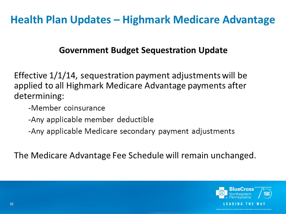 32 Health Plan Updates – Highmark Medicare Advantage Government Budget Sequestration Update Effective 1/1/14, sequestration payment adjustments will be applied to all Highmark Medicare Advantage payments after determining: -Member coinsurance -Any applicable member deductible -Any applicable Medicare secondary payment adjustments The Medicare Advantage Fee Schedule will remain unchanged.