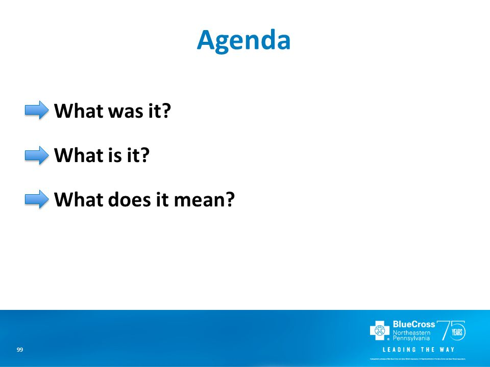 99 Agenda What was it? What is it? What does it mean?