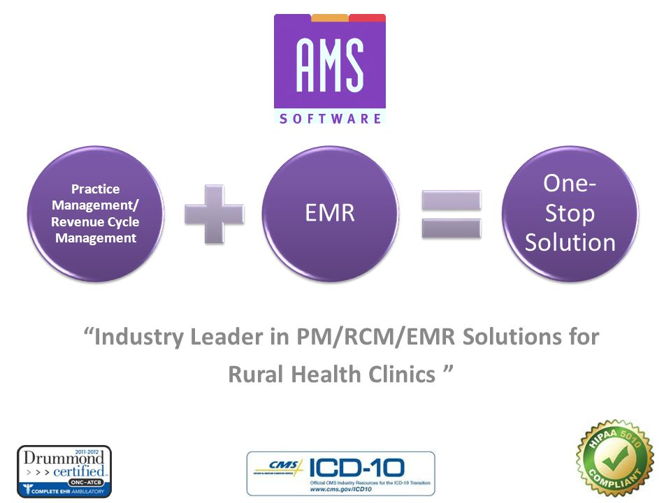 """Industry Leader in PM/RCM/EMR Solutions for Rural Health Clinics "" Practice Management/ Revenue Cycle Management EMR One- Stop Solution"