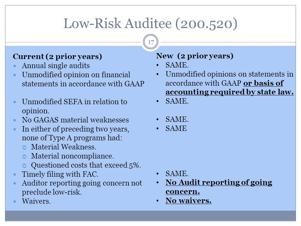Low-Risk Auditee (200.520) Current (2 prior years) Annual single audits Unmodified opinion on financial statements in accordance with GAAP Unmodified