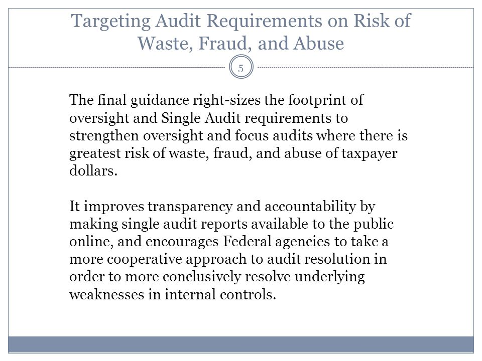 Targeting Audit Requirements on Risk of Waste, Fraud, and Abuse The final guidance right-sizes the footprint of oversight and Single Audit requirement