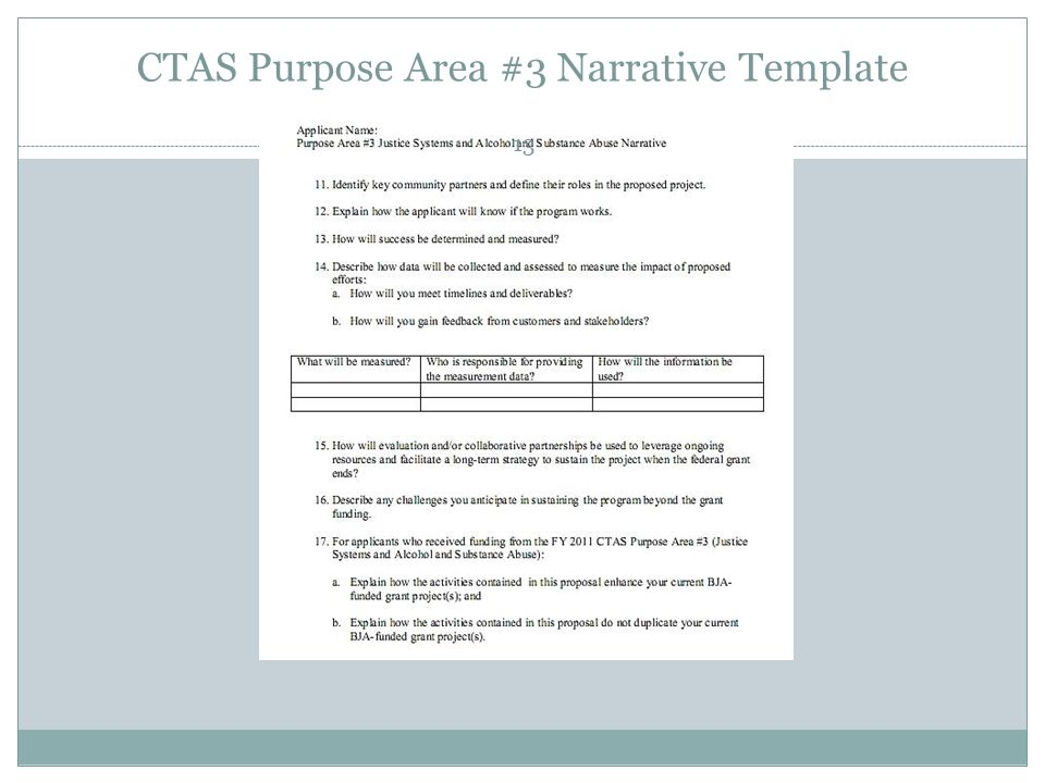 CTAS Purpose Area #3 Narrative Template 13