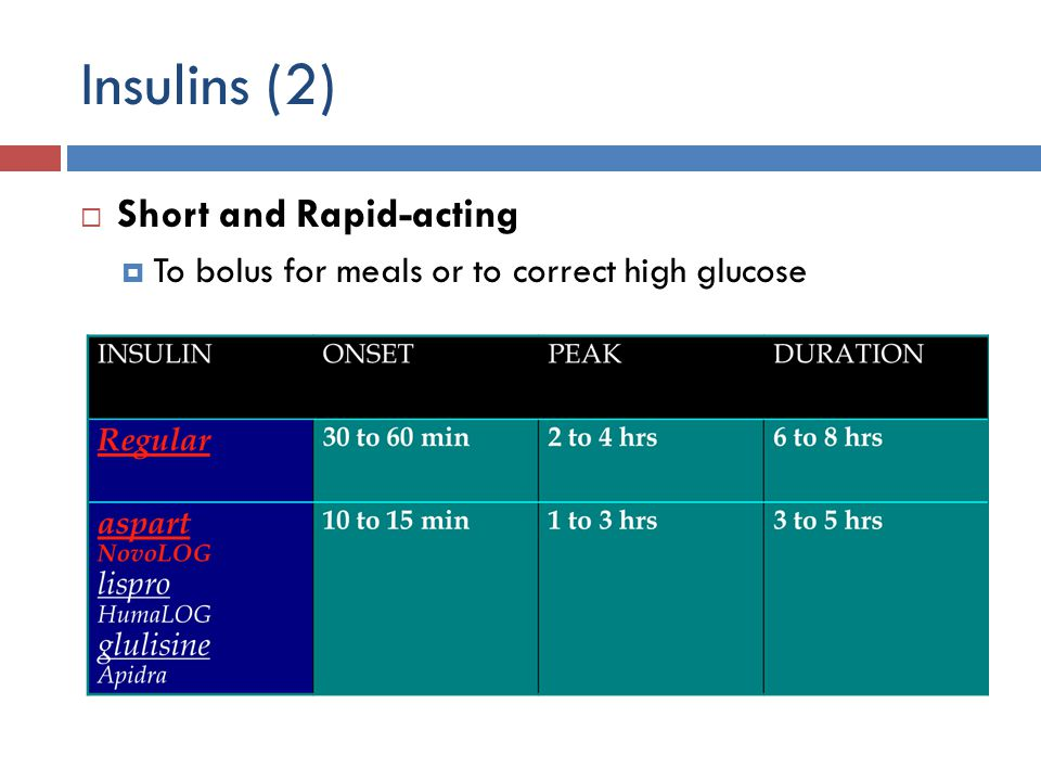 Insulins (2)  Short and Rapid-acting  To bolus for meals or to correct high glucose