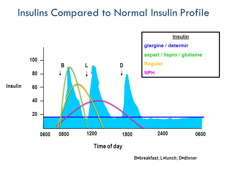 0600 Time of day 20 40 60 80 100 BLD Insulins Compared to Normal Insulin Profile B=breakfast; L=lunch; D=dinner 0600 0800 1800 12002400 0600 Insulin glargine / determir aspart / lispro / glulisine Regular NPH