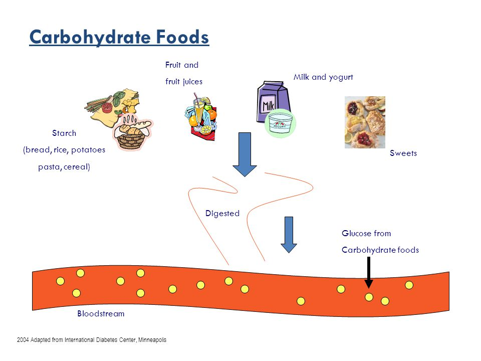 Carbohydrate Foods Starch (bread, rice, potatoes pasta, cereal) Fruit and fruit juices Milk and yogurt Sweets Digested Glucose from Carbohydrate foods Bloodstream 2004 Adapted from International Diabetes Center, Minneapolis