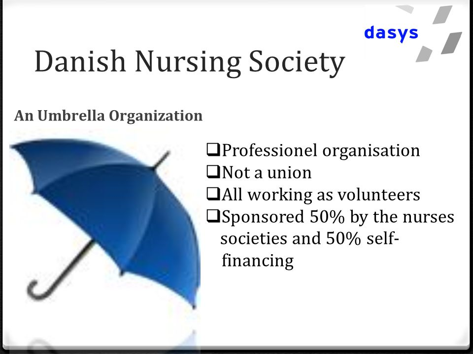 Danish Nursing Society An Umbrella Organization  Professionel organisation  Not a union  All working as volunteers  Sponsored 50% by the nurses societies and 50% self- financing