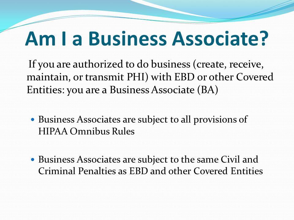 Am I a Business Associate.