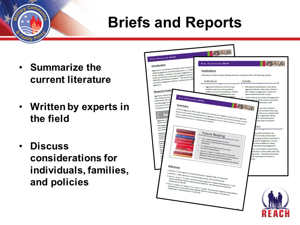 Briefs and Reports Summarize the current literature Written by experts in the field Discuss considerations for individuals, families, and policies