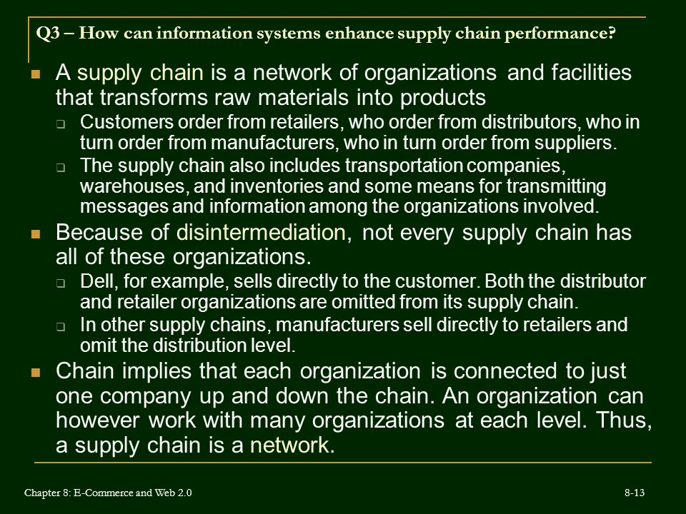 Q3 – How can information systems enhance supply chain performance.