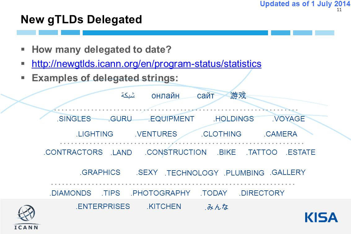 11 Updated as of 1 July 2014  How many delegated to date.
