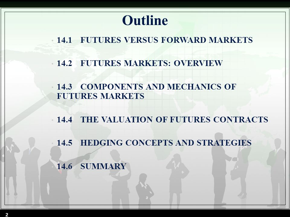 14.1FUTURES VERSUS FORWARD MARKETS futures markets allow for the transfer of risk from hedgers (risk- averse individuals) to speculators (risk-seeking individuals) A future contract is a standardized legal agreement between a buyer and a seller, who promise to exchange a specified amount of money for goods or services at a future time.