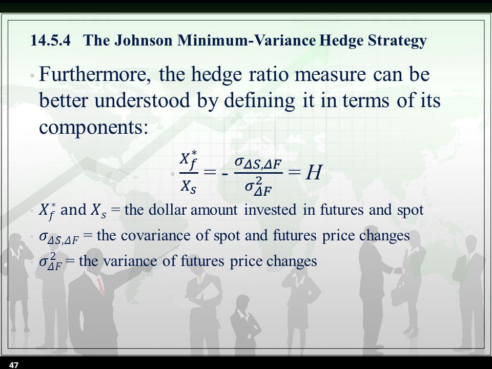 14.5.4 The Johnson Minimum-Variance Hedge Strategy 47