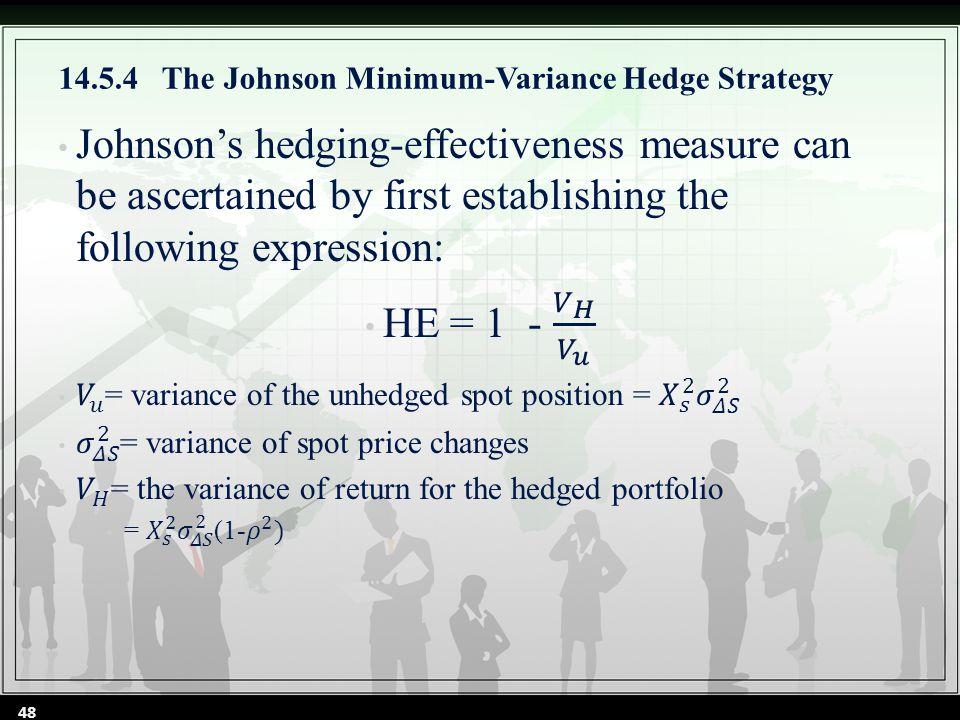 14.5.4 The Johnson Minimum-Variance Hedge Strategy 48