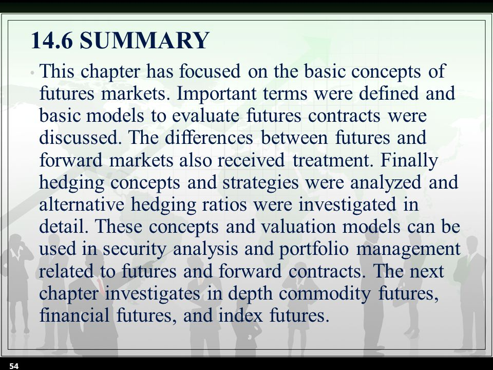 14.6SUMMARY This chapter has focused on the basic concepts of futures markets.