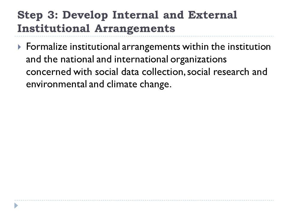 Step 3: Develop Internal and External Institutional Arrangements  Formalize institutional arrangements within the institution and the national and in