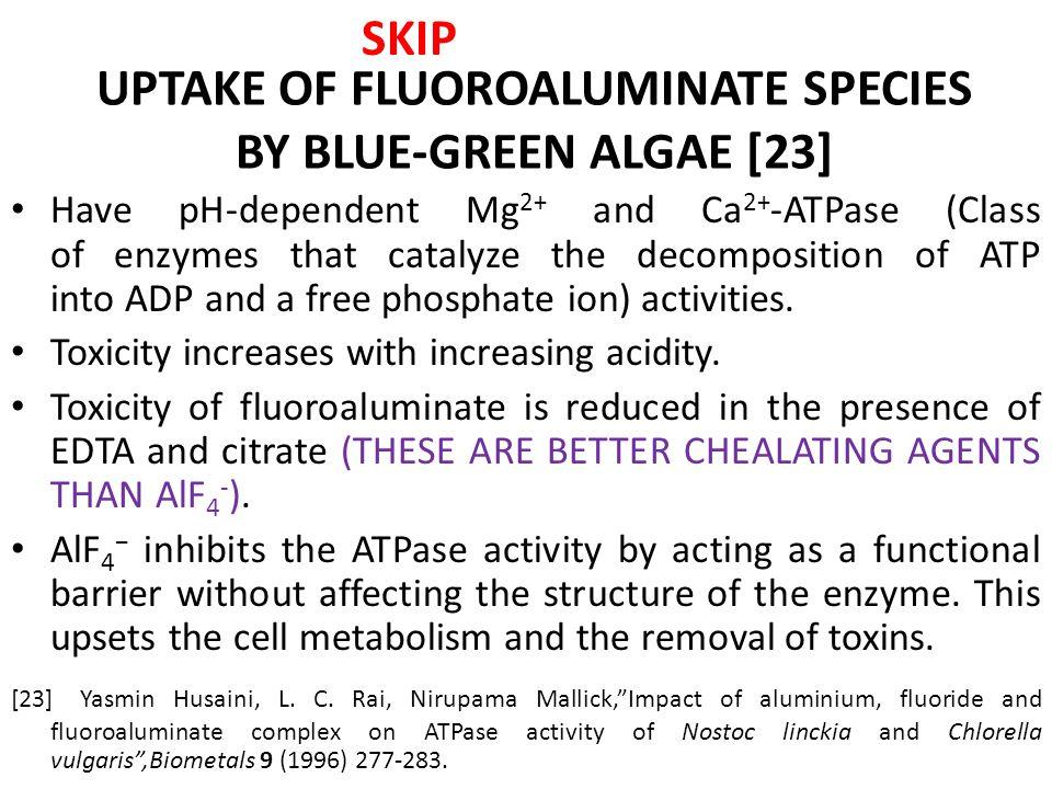 TOXICITY OF FLUOROALUMINATES STUDIES WITH Nostoc linckia and Chlorella vulgaris BLUE-GREEN ALGAE SKIP
