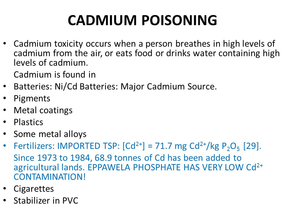 CADMIUM IN FISH Measured in flesh extract. Cd 2+ concentrates in the bones by exchanging for Ca 2+ ions. In this way, Cd 2+ accumulates in fish bones.